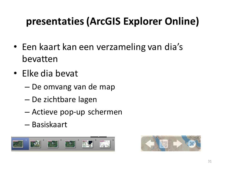 presentaties (ArcGIS Explorer Online) • Een kaart kan een verzameling van dia's bevatten • Elke dia bevat – De omvang van de map – De zichtbare lagen