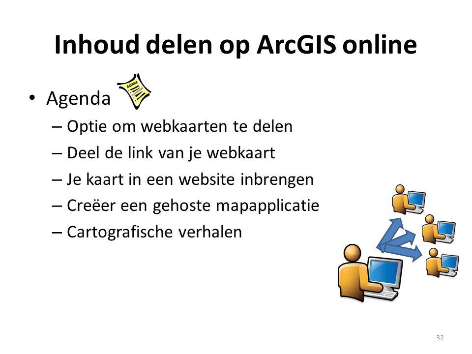 Inhoud delen op ArcGIS online • Agenda – Optie om webkaarten te delen – Deel de link van je webkaart – Je kaart in een website inbrengen – Creëer een