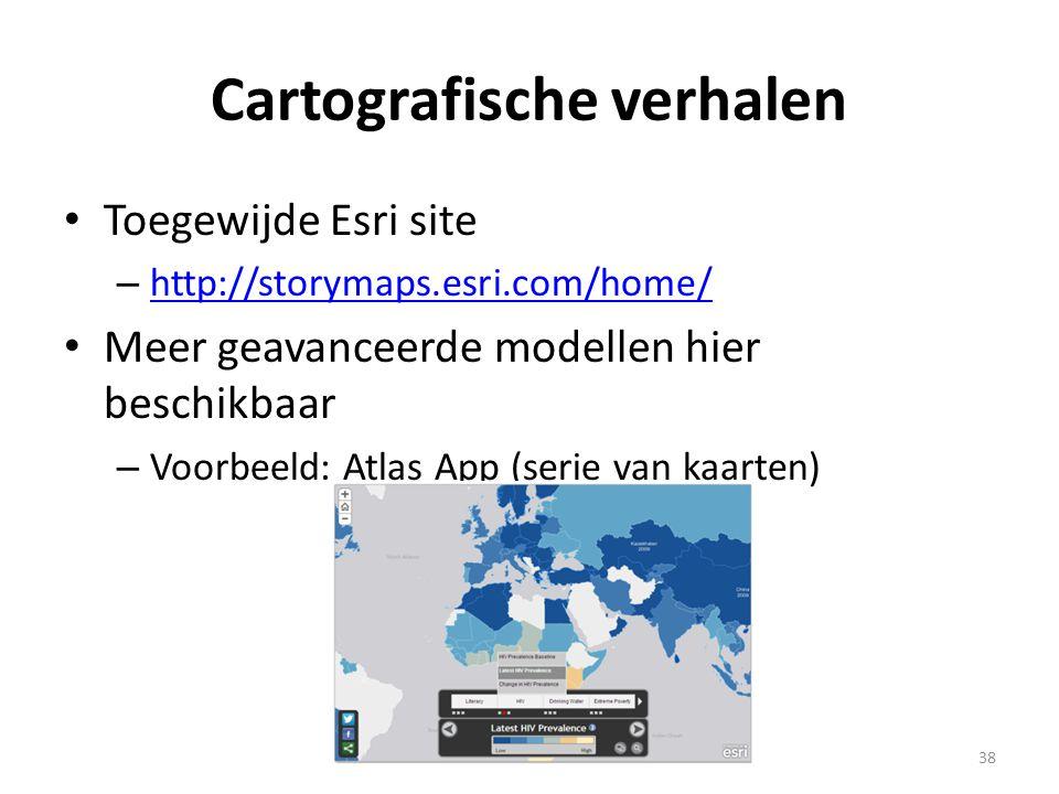 Cartografische verhalen • Toegewijde Esri site – http://storymaps.esri.com/home/ http://storymaps.esri.com/home/ • Meer geavanceerde modellen hier bes