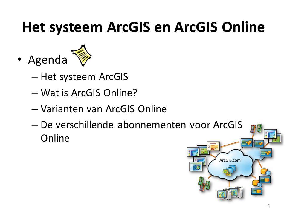 Het systeem ArcGIS en ArcGIS Online • Agenda – Het systeem ArcGIS – Wat is ArcGIS Online? – Varianten van ArcGIS Online – De verschillende abonnemente