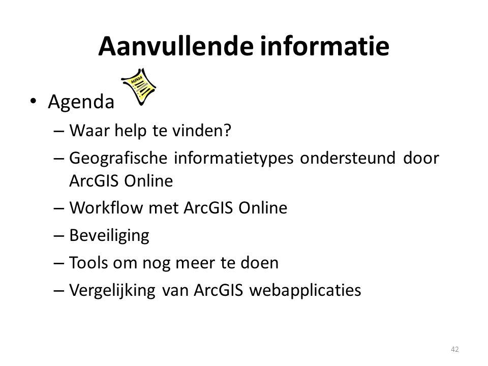 Aanvullende informatie • Agenda – Waar help te vinden? – Geografische informatietypes ondersteund door ArcGIS Online – Workflow met ArcGIS Online – Be