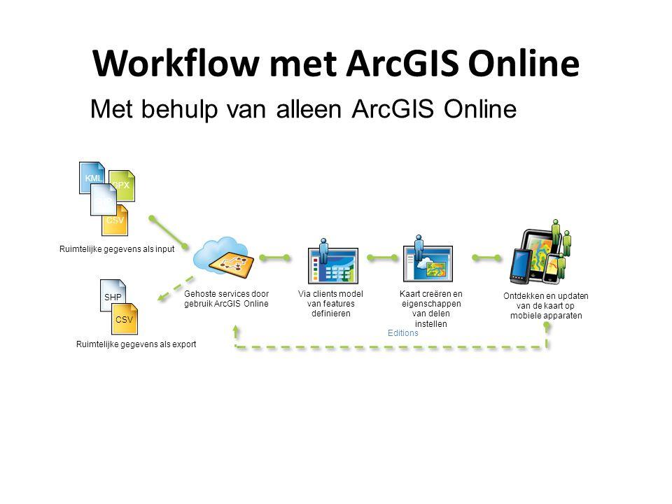 Workflow met ArcGIS Online Gehoste services door gebruik ArcGIS Online Ontdekken en updaten van de kaart op mobiele apparaten KML GPX Ruimtelijke gege
