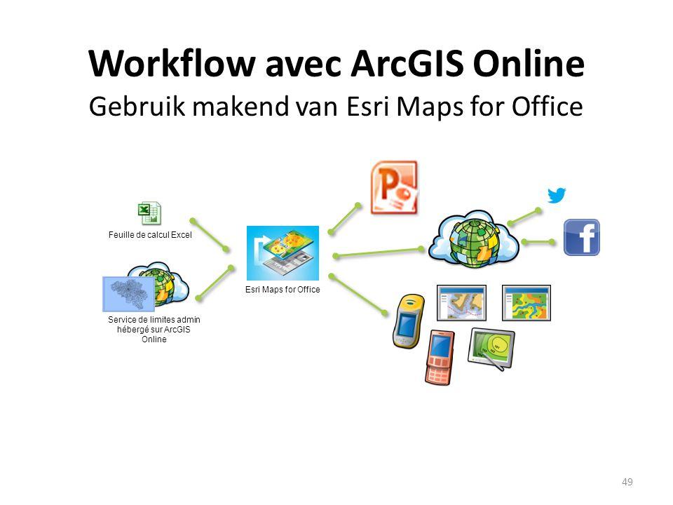 Workflow avec ArcGIS Online Gebruik makend van Esri Maps for Office 49 Service de limites admin hébergé sur ArcGIS Online Feuille de calcul Excel Esri