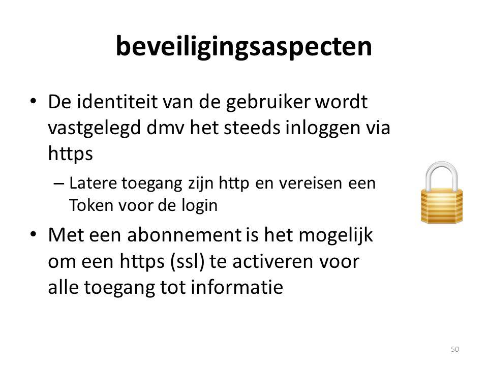 beveiligingsaspecten • De identiteit van de gebruiker wordt vastgelegd dmv het steeds inloggen via https – Latere toegang zijn http en vereisen een To
