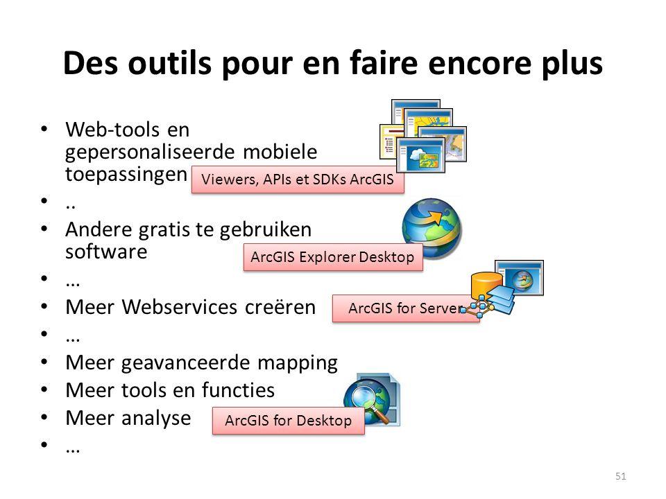 Des outils pour en faire encore plus • Web-tools en gepersonaliseerde mobiele toepassingen •.. • Andere gratis te gebruiken software • … • Meer Webser