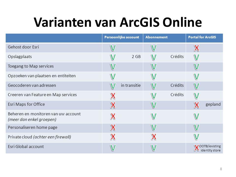 Varianten van ArcGIS Online 8 Persoonlijke accountAbonnementPortal for ArcGIS Gehost door Esri Opslagplaats2 GBCrédits Toegang to Map services Opzoeke