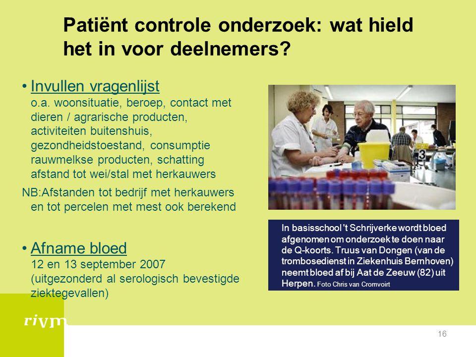 16 Patiënt controle onderzoek: wat hield het in voor deelnemers? •Invullen vragenlijst o.a. woonsituatie, beroep, contact met dieren / agrarische prod