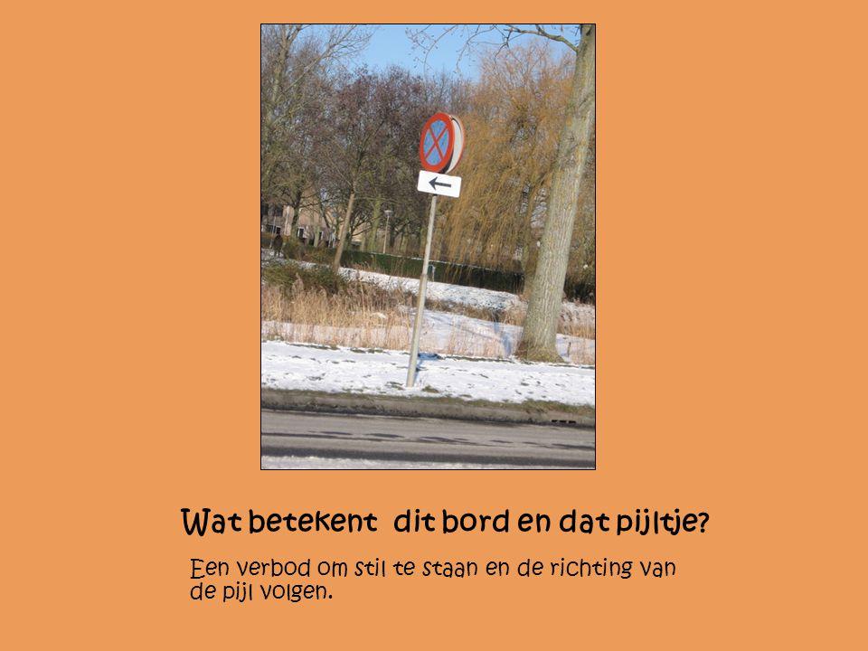 Wat betekent dit bord en dat pijltje? Een verbod om stil te staan en de richting van de pijl volgen.