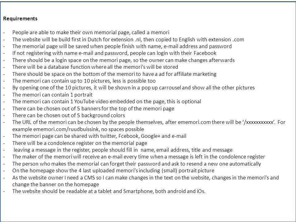 Sample of homepage memori aanmaken