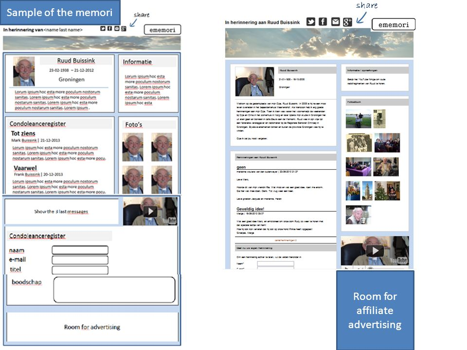 Sample of the memori share Room for affiliate advertising