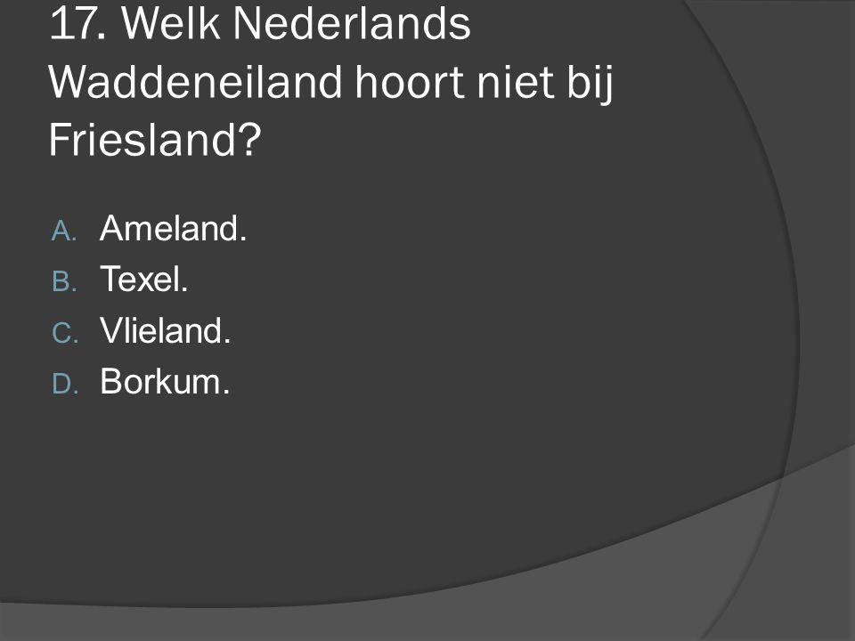 17. Welk Nederlands Waddeneiland hoort niet bij Friesland? A. Ameland. B. Texel. C. Vlieland. D. Borkum.