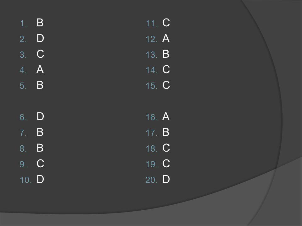 1. B 2. D 3. C 4. A 5. B 6. D 7. B 8. B 9. C 10. D 11. C 12. A 13. B 14. C 15. C 16. A 17. B 18. C 19. C 20. D