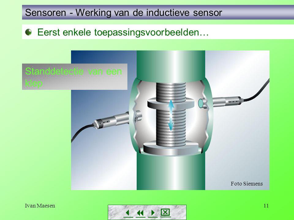Ivan Maesen11 Sensoren - Werking van de inductieve sensor        Eerst enkele toepassingsvoorbeelden… Standdetectie van een klep Foto Siemens