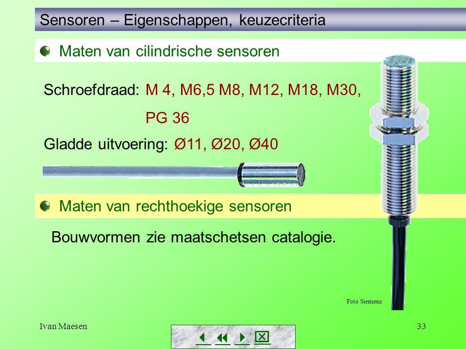 Ivan Maesen33 Maten van cilindrische sensoren Sensoren – Eigenschappen, keuzecriteria        Schroefdraad: M 4, M6,5 M8, M12, M18, M30, PG 36