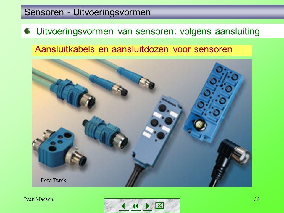 Ivan Maesen38 Uitvoeringsvormen van sensoren: volgens aansluiting Aansluitkabels en aansluitdozen voor sensoren Sensoren - Uitvoeringsvormen    