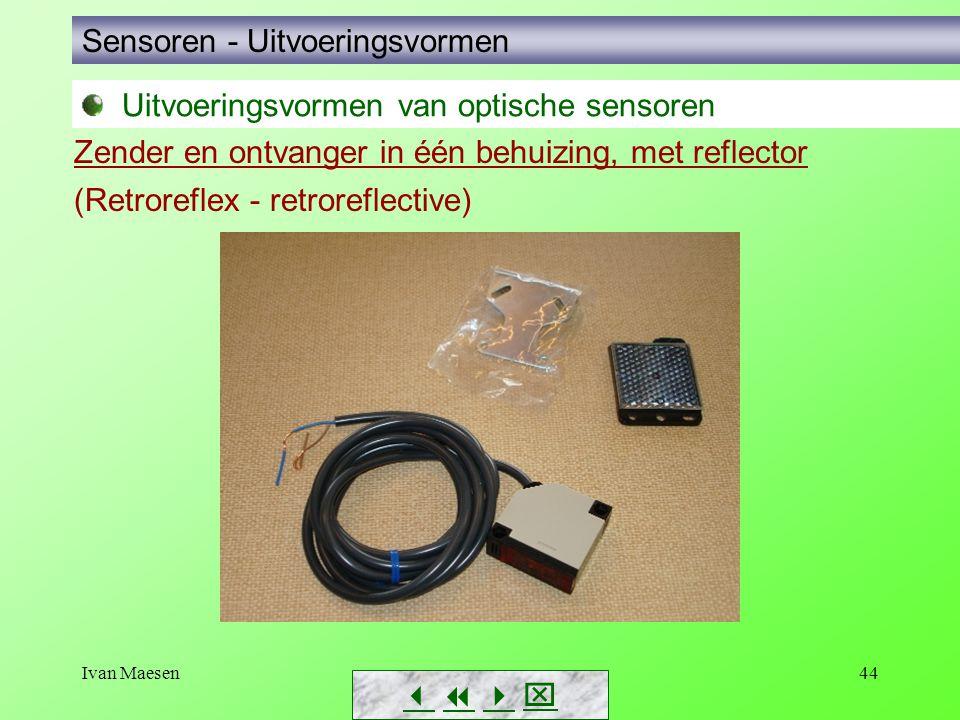 Ivan Maesen44 Sensoren - Uitvoeringsvormen        Zender en ontvanger in één behuizing, met reflector (Retroreflex - retroreflective) Uitvoeri