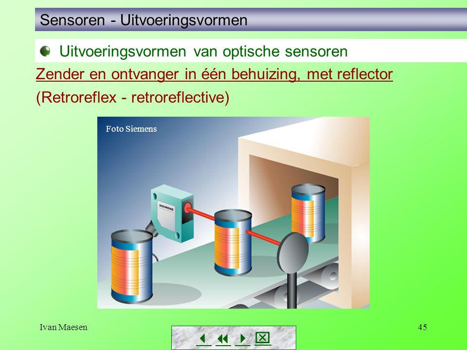 Ivan Maesen45 Sensoren - Uitvoeringsvormen        Zender en ontvanger in één behuizing, met reflector (Retroreflex - retroreflective) Foto Sie