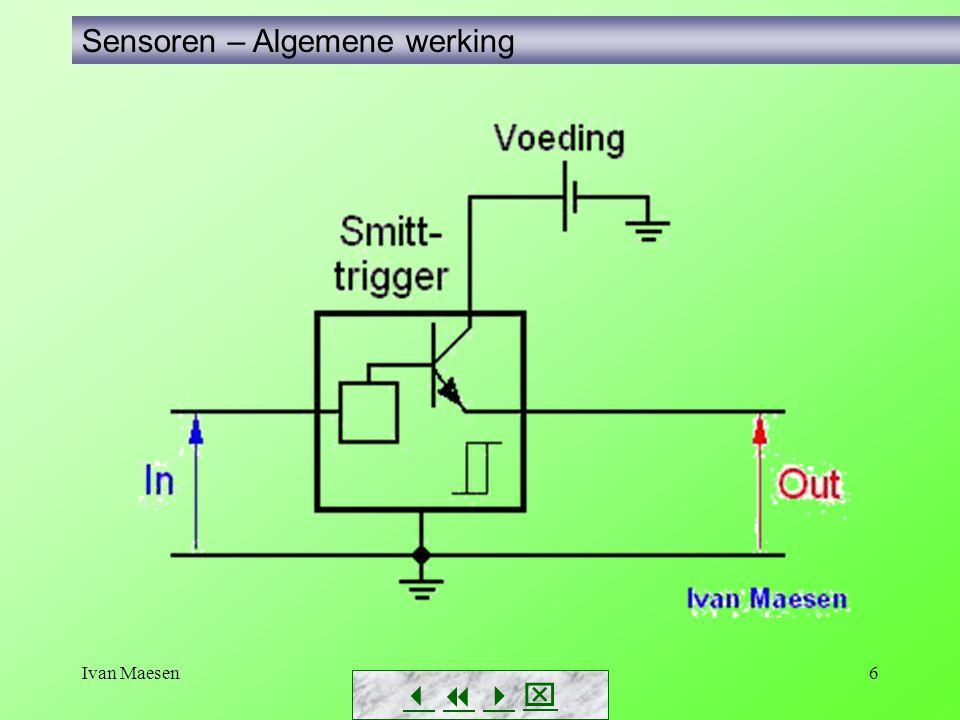 Ivan Maesen87 Driedraadse sensoren Sensoren – Testen van sensoren        Als voorbeeld een sensor met PNP-uitgang  Het aansluitschema  Testen met V-meter – Je kunt uiteraard met de V- meter ook over de belasting meten.