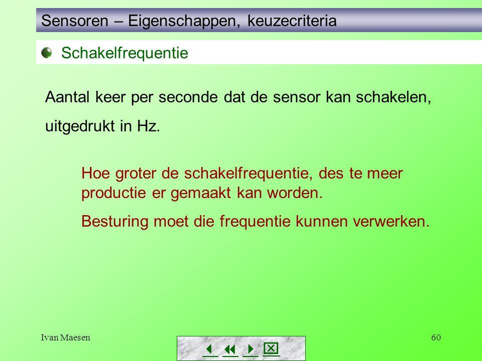 Ivan Maesen60 Sensoren – Eigenschappen, keuzecriteria        Aantal keer per seconde dat de sensor kan schakelen, uitgedrukt in Hz. Hoe groter