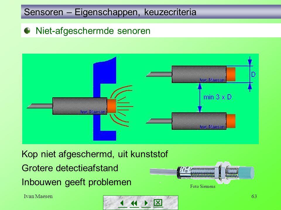 Ivan Maesen63 Sensoren – Eigenschappen, keuzecriteria        Kop niet afgeschermd, uit kunststof Grotere detectieafstand Inbouwen geeft proble