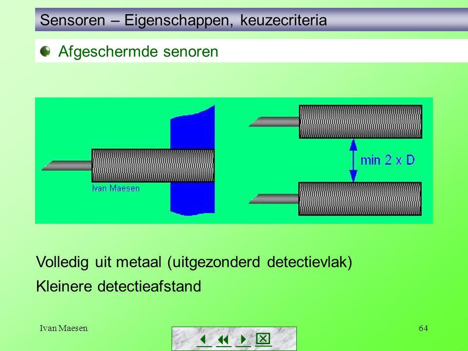 Ivan Maesen64 Sensoren – Eigenschappen, keuzecriteria        Volledig uit metaal (uitgezonderd detectievlak) Kleinere detectieafstand Afgesche