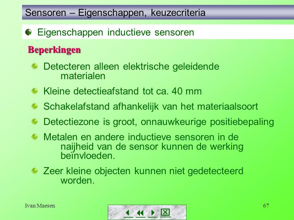 Ivan Maesen67 Sensoren – Eigenschappen, keuzecriteria        Eigenschappen inductieve sensoren Detecteren alleen elektrische geleidende materi