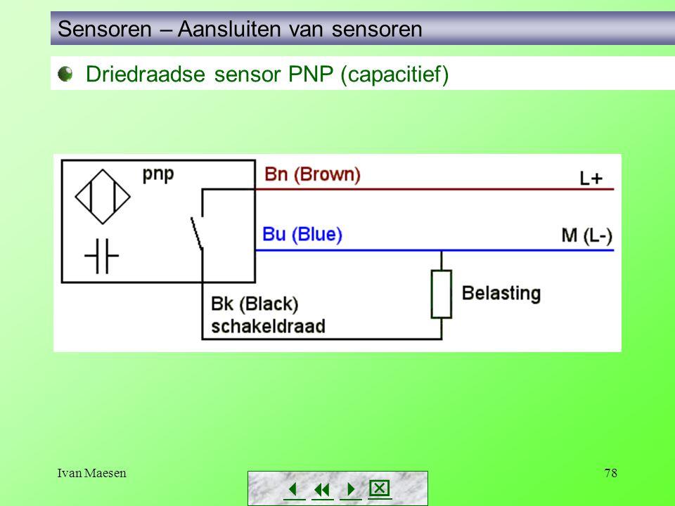 Ivan Maesen78 Driedraadse sensor PNP (capacitief) Sensoren – Aansluiten van sensoren       