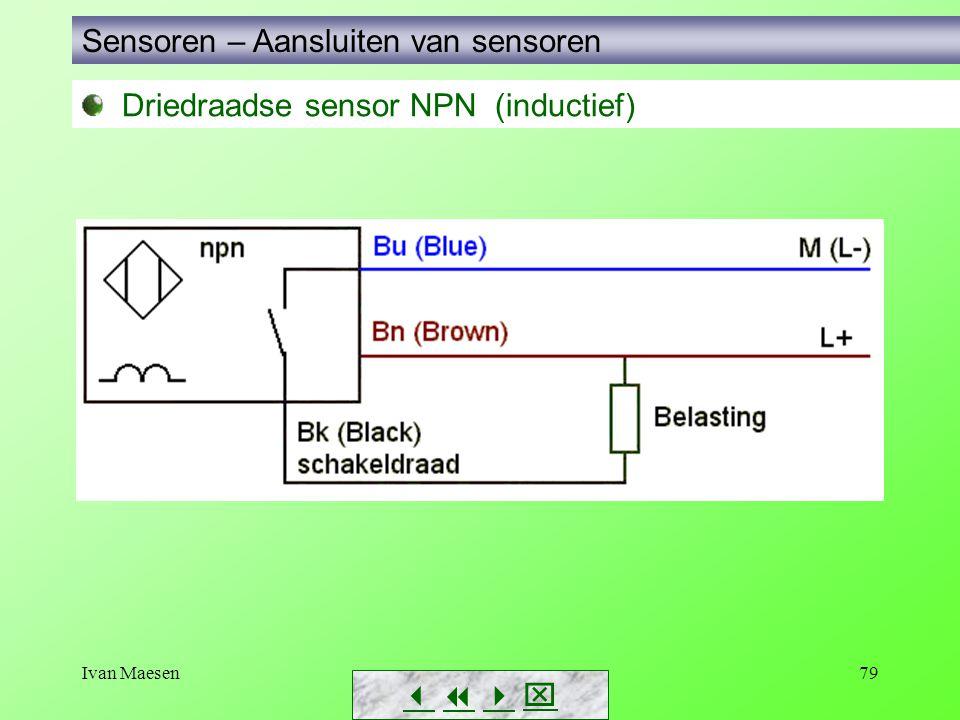 Ivan Maesen79 Driedraadse sensor NPN (inductief) Sensoren – Aansluiten van sensoren       