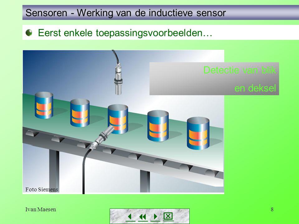 Ivan Maesen59 Sensoren – Eigenschappen, keuzecriteria        Correctiefactoren capacitieve schakelaar: - Staal 1 - Al0,95 - Cu0,95 - H 2 O0,64 - Plexiglas0,20 - … Werkelijke schakelafstand