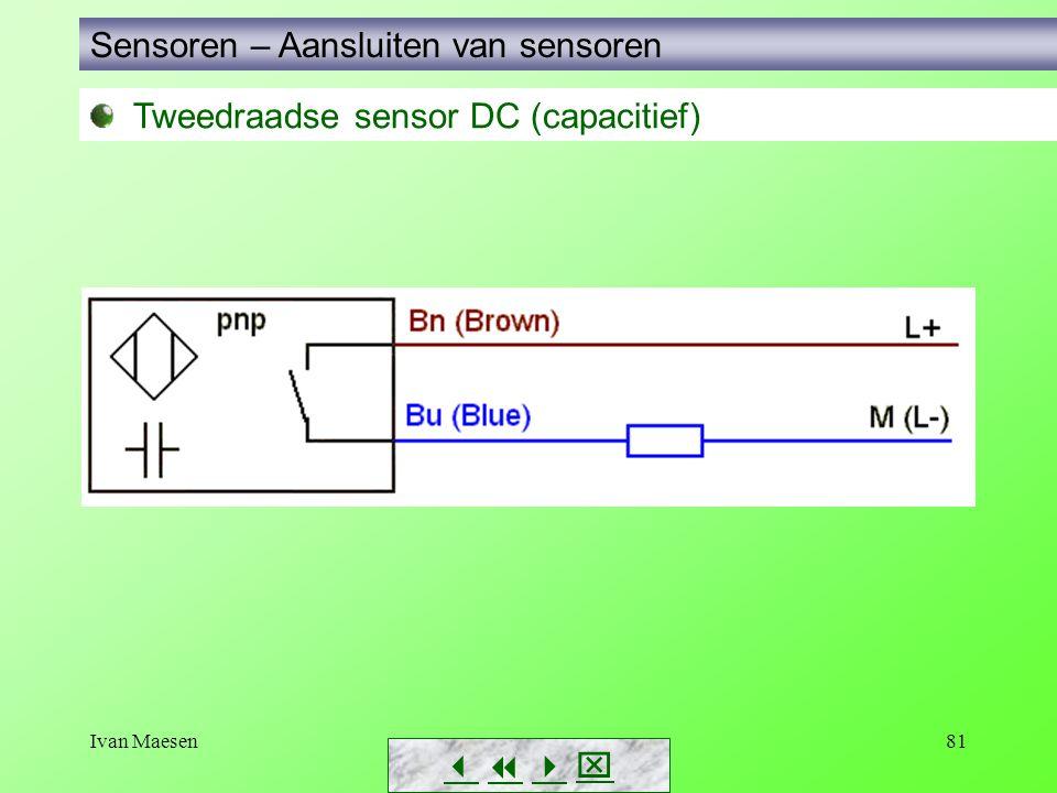 Ivan Maesen81 Tweedraadse sensor DC (capacitief) Sensoren – Aansluiten van sensoren       