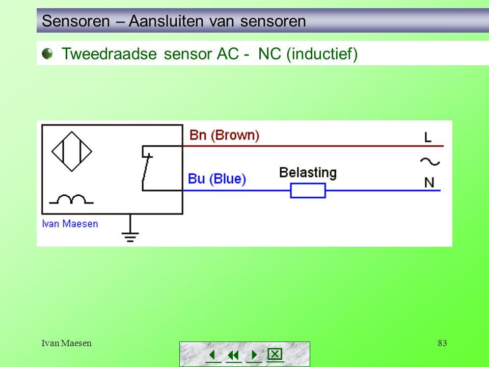 Ivan Maesen83 Tweedraadse sensor AC - NC (inductief) Sensoren – Aansluiten van sensoren       