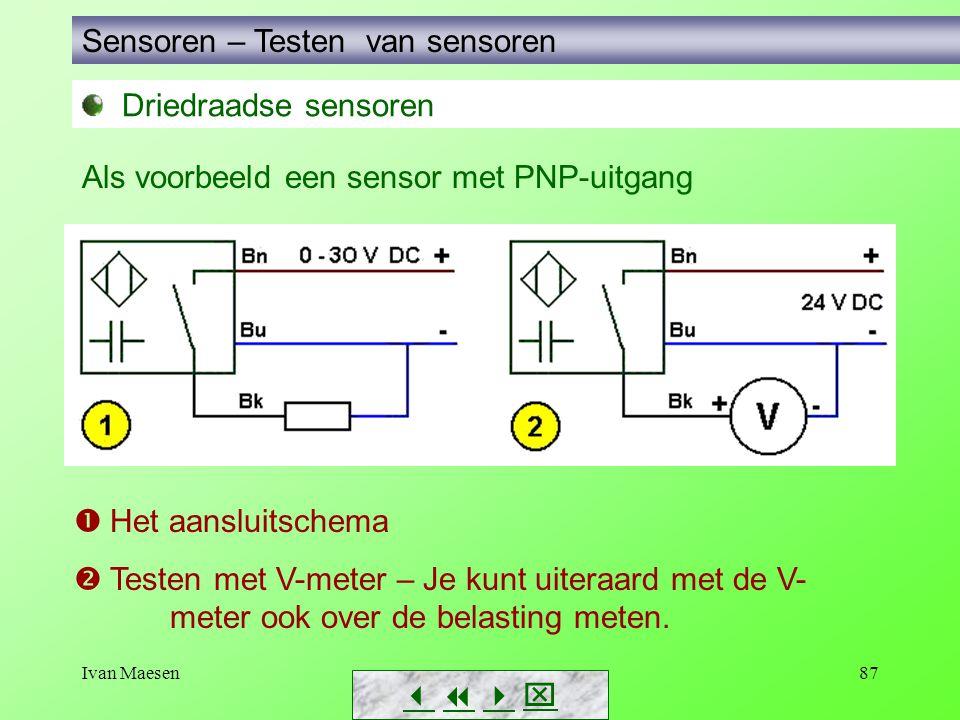 Ivan Maesen87 Driedraadse sensoren Sensoren – Testen van sensoren        Als voorbeeld een sensor met PNP-uitgang  Het aansluitschema  Teste