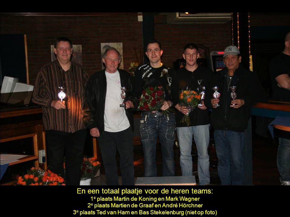 En een totaal plaatje voor de heren teams: 1 e plaats Martin de Koning en Mark Wagner 2 e plaats Martien de Graaf en André Hörchner 3 e plaats Ted van Ham en Bas Stekelenburg (niet op foto)
