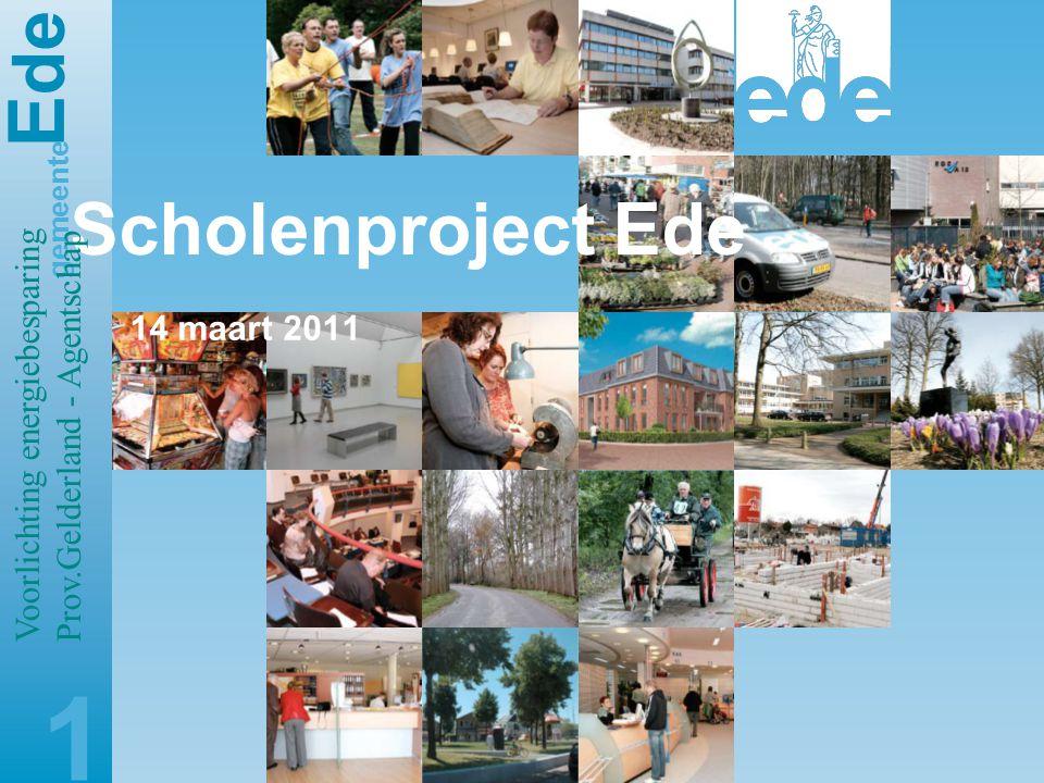 E de gemeente Scholenproject Ede 14 maart 2011 1 Voorlichting energiebesparing Prov.Gelderland - Agentschap