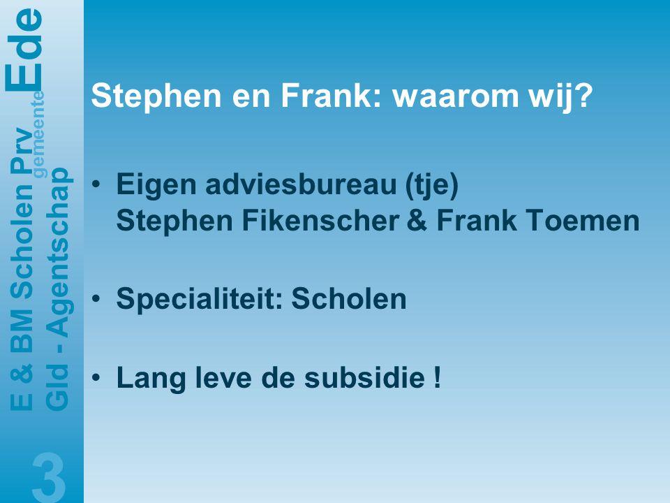 E de gemeente E & BM Scholen Prv Gld - Agentschap 3 Stephen en Frank: waarom wij.