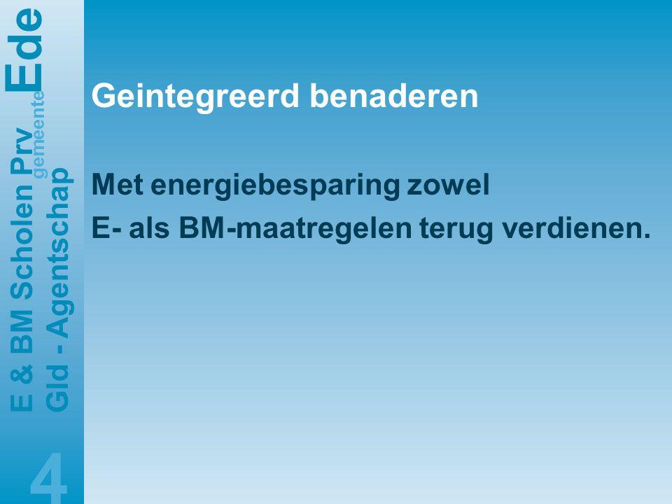 E de gemeente E & BM Scholen Prv Gld - Agentschap 4 Geintegreerd benaderen Met energiebesparing zowel E- als BM-maatregelen terug verdienen.