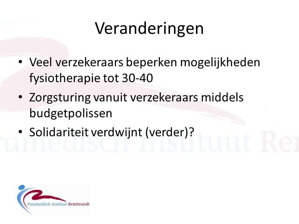 Veranderingen • Veel verzekeraars beperken mogelijkheden fysiotherapie tot 30-40 • Zorgsturing vanuit verzekeraars middels budgetpolissen • Solidarite