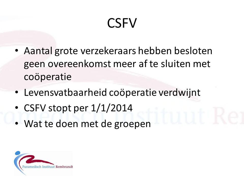 CSFV • Aantal grote verzekeraars hebben besloten geen overeenkomst meer af te sluiten met coöperatie • Levensvatbaarheid coöperatie verdwijnt • CSFV s