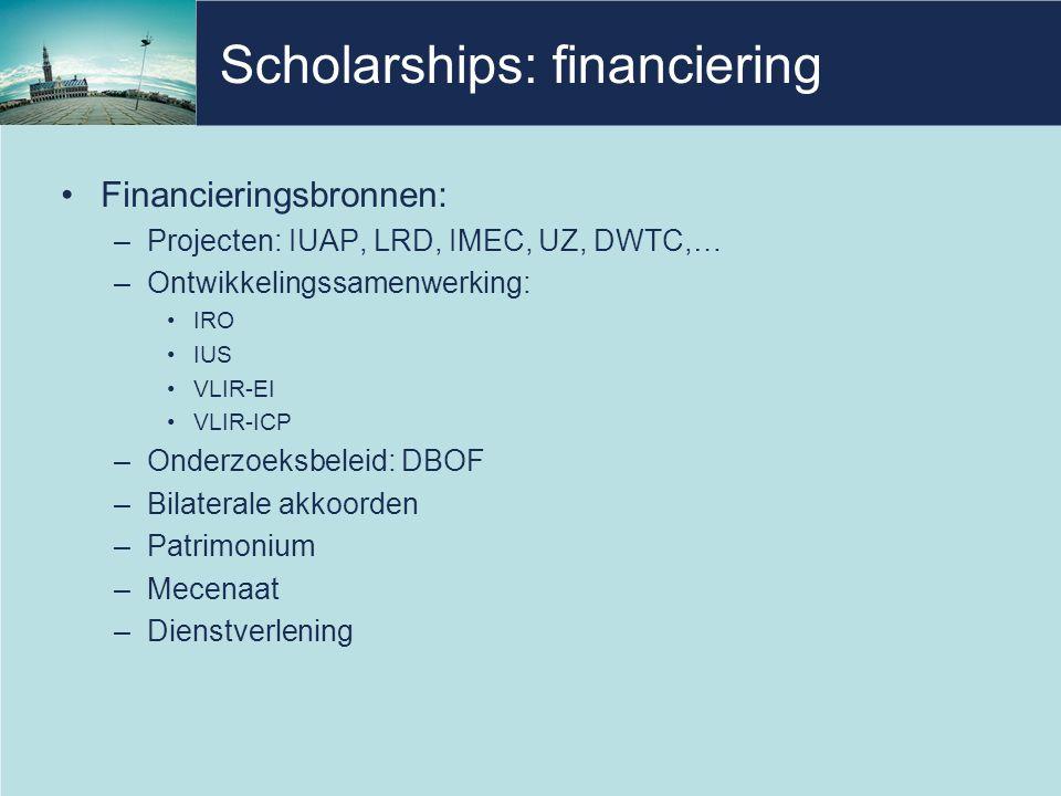 Scholarships: financiering •Financieringsbronnen: –Projecten: IUAP, LRD, IMEC, UZ, DWTC,… –Ontwikkelingssamenwerking: •IRO •IUS •VLIR-EI •VLIR-ICP –Onderzoeksbeleid: DBOF –Bilaterale akkoorden –Patrimonium –Mecenaat –Dienstverlening