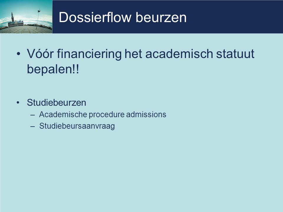 Dossierflow beurzen •Vóór financiering het academisch statuut bepalen!.