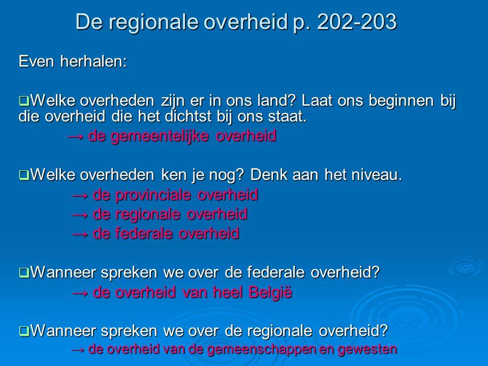 De regionale overheid p.202-203 Even herhalen:  Welke overheden zijn er in ons land.