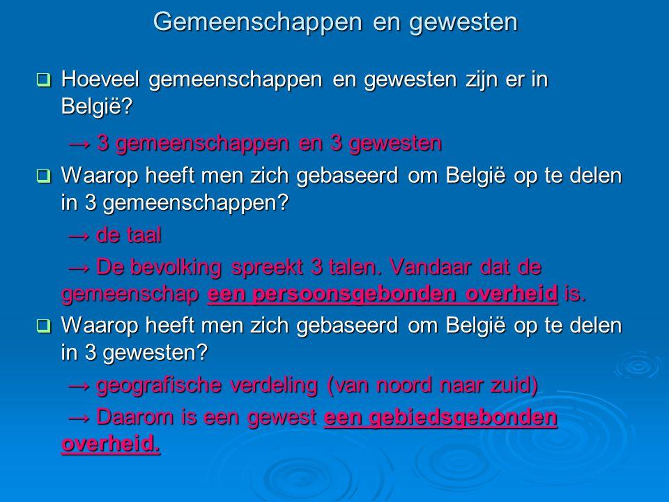 Gemeenschappen en gewesten  Hoeveel gemeenschappen en gewesten zijn er in België.