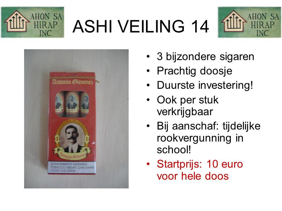 ASHI VEILING 14 •3 bijzondere sigaren •Prachtig doosje •Duurste investering.