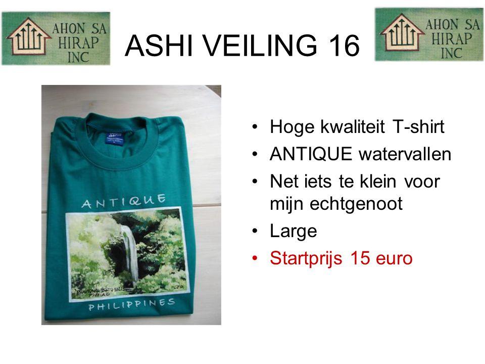 ASHI VEILING 16 •Hoge kwaliteit T-shirt •ANTIQUE watervallen •Net iets te klein voor mijn echtgenoot •Large •Startprijs 15 euro