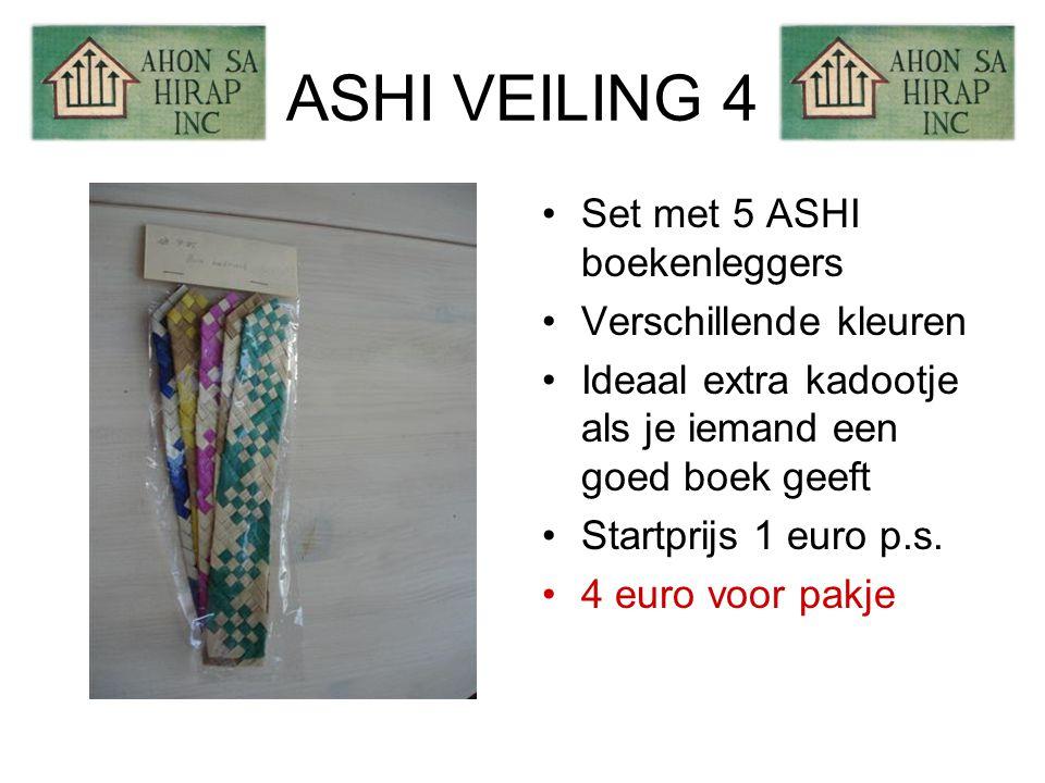 ASHI VEILING 4 •Set met 5 ASHI boekenleggers •Verschillende kleuren •Ideaal extra kadootje als je iemand een goed boek geeft •Startprijs 1 euro p.s.