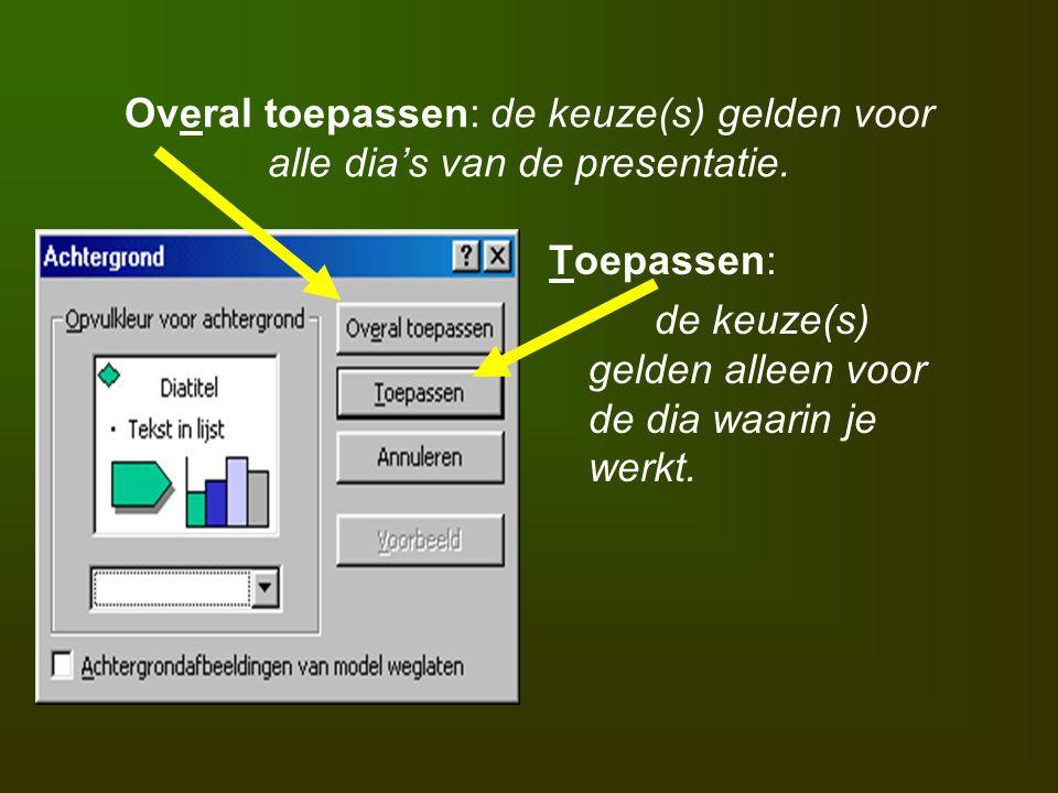 Overal toepassen: de keuze(s) gelden voor alle dia's van de presentatie. Toepassen: de keuze(s) gelden alleen voor de dia waarin je werkt.