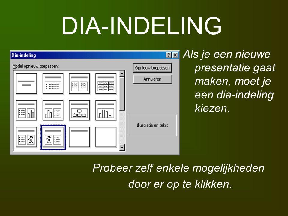 DIA-INDELING Als je een nieuwe presentatie gaat maken, moet je een dia-indeling kiezen. Probeer zelf enkele mogelijkheden door er op te klikken.
