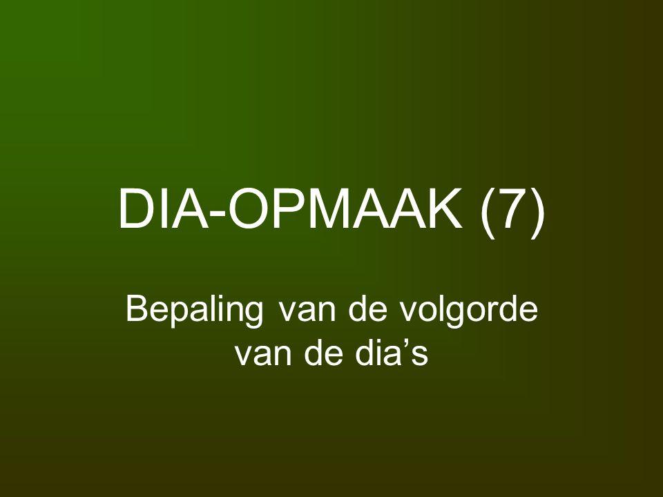 DIA-OPMAAK (7) Bepaling van de volgorde van de dia's