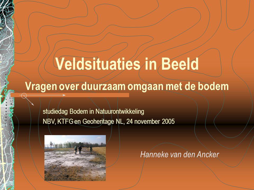 Hanneke van den Ancker Veldsituaties in Beeld Vragen over duurzaam omgaan met de bodem studiedag Bodem in Natuurontwikkeling NBV, KTFG en Geoheritage NL, 24 november 2005