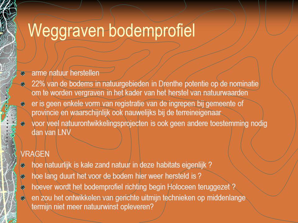 Weggraven bodemprofiel arme natuur herstellen 22% van de bodems in natuurgebieden in Drenthe potentie op de nominatie om te worden vergraven in het kader van het herstel van natuurwaarden er is geen enkele vorm van registratie van de ingrepen bij gemeente of provincie en waarschijnlijk ook nauwelijks bij de terreineigenaar voor veel natuurontwikkelingsprojecten is ook geen andere toestemming nodig dan van LNV VRAGEN hoe natuurlijk is kale zand natuur in deze habitats eigenlijk .